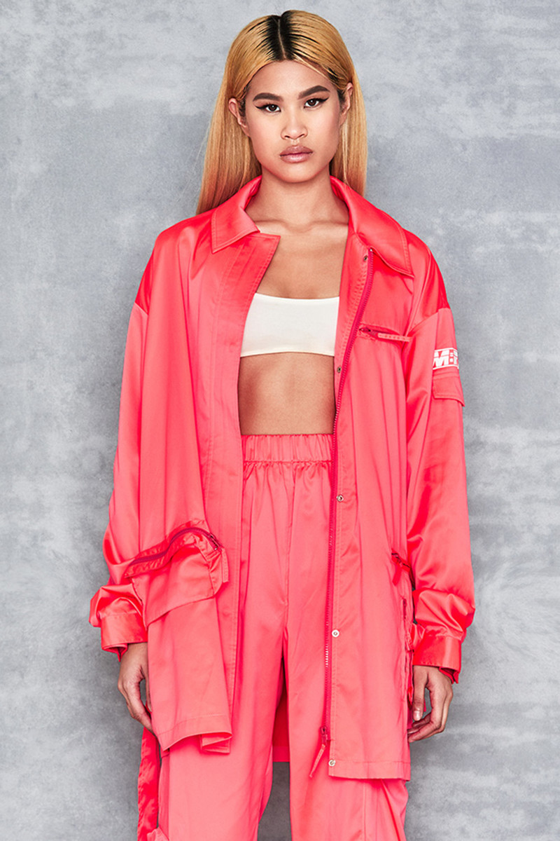 'Craziness' Neon Coral Oversized Nylon Jacket