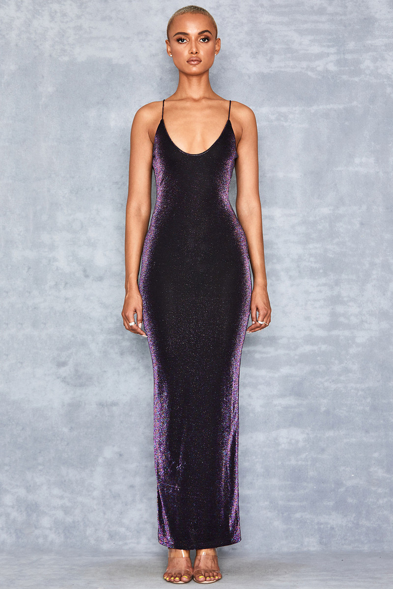Cha Cha Purple Sparkle Maxi Dress