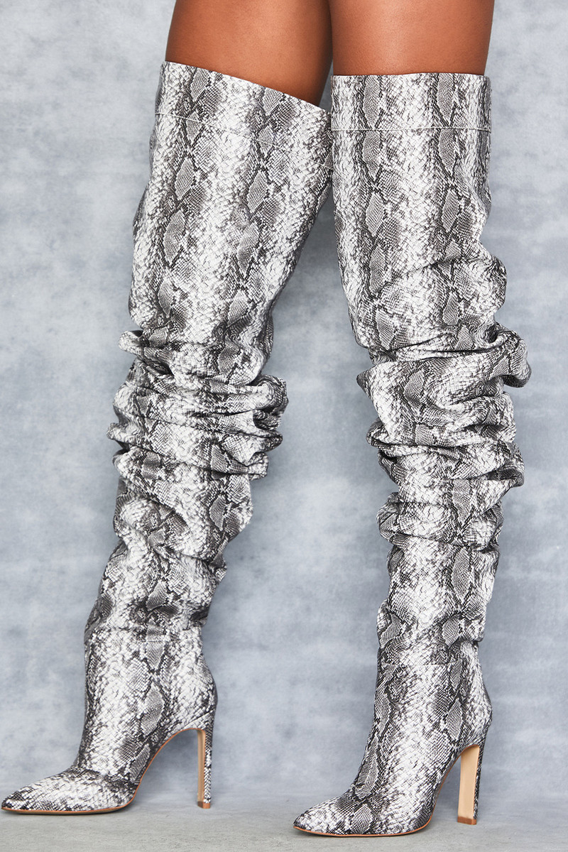 Prominence Grey Snakeskin Extreme Slouch Boots