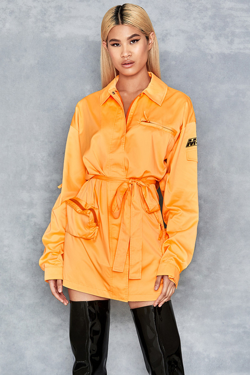 Craziness Neon Orange Oversized Nylon Jacket