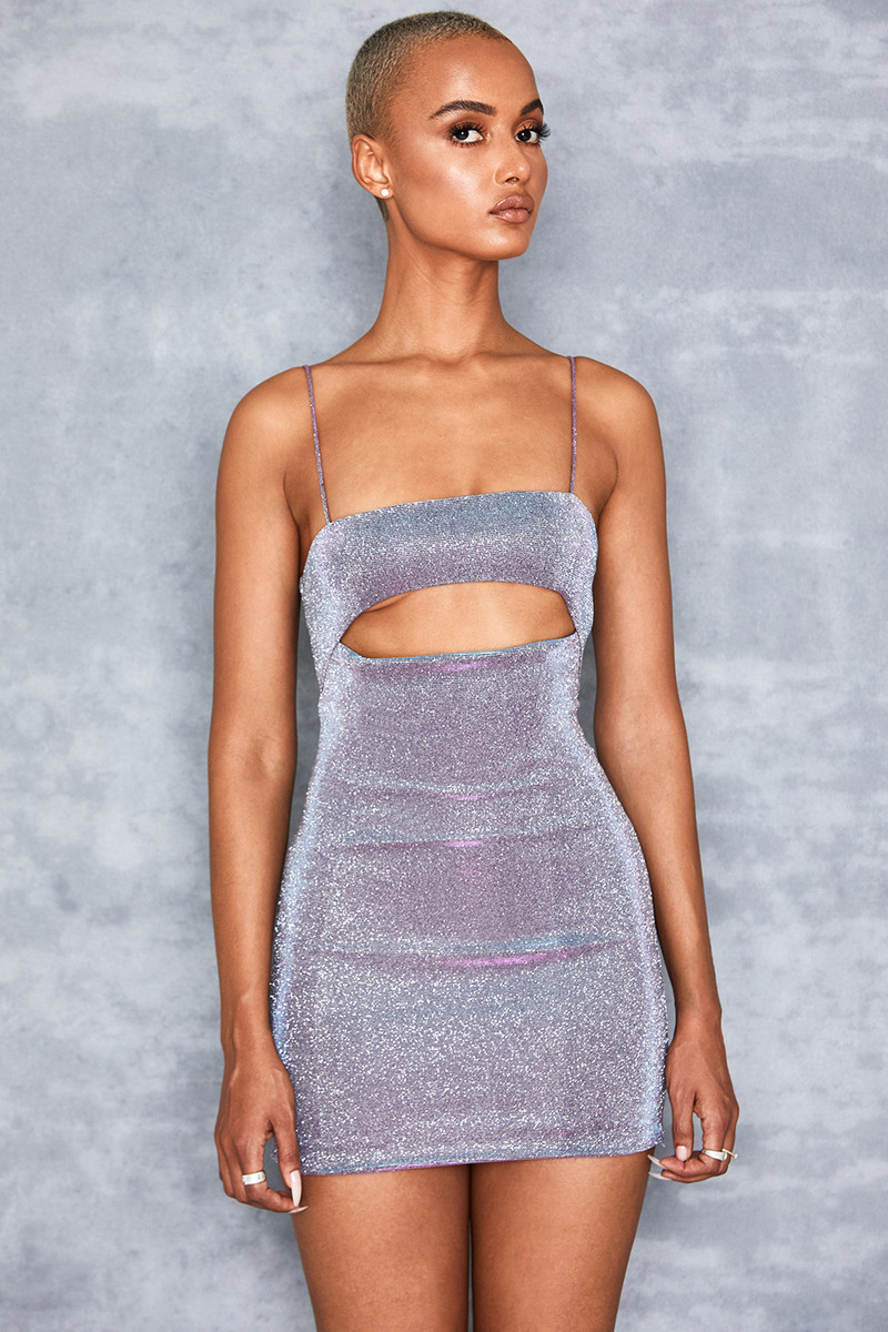 Creed Lilac Rainbow Sparkle Mini Dress