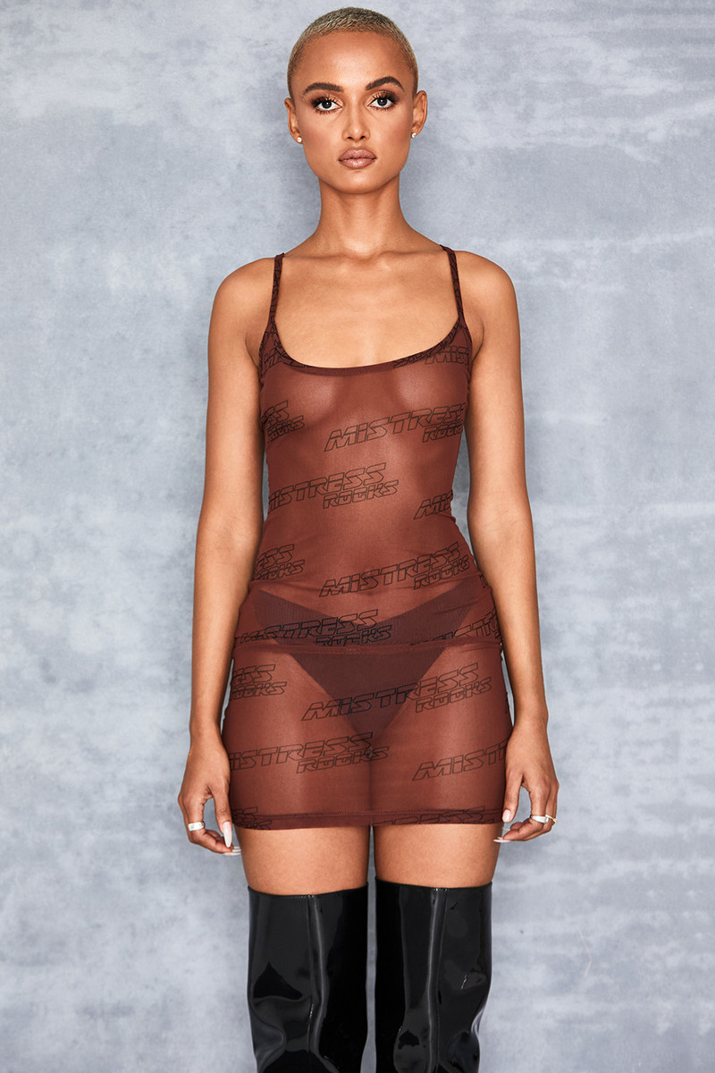 Flow Brown Sheer Mesh Branded Mini Dress