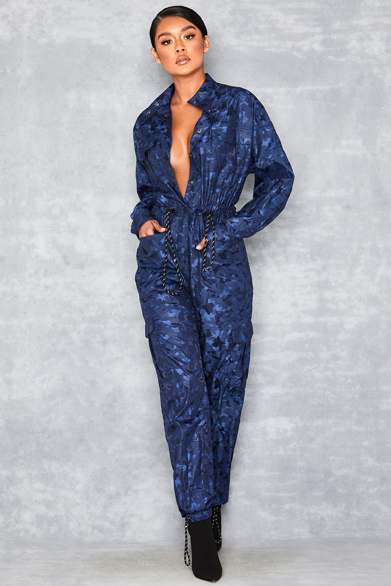 Guided Blue Camo 3/4 Jumpsuit