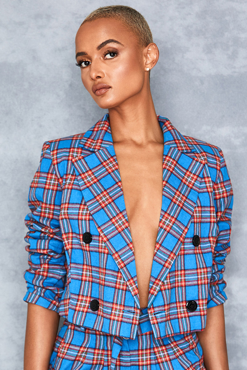 Kamikaze Blue + Red Tartan Cropped Jacket