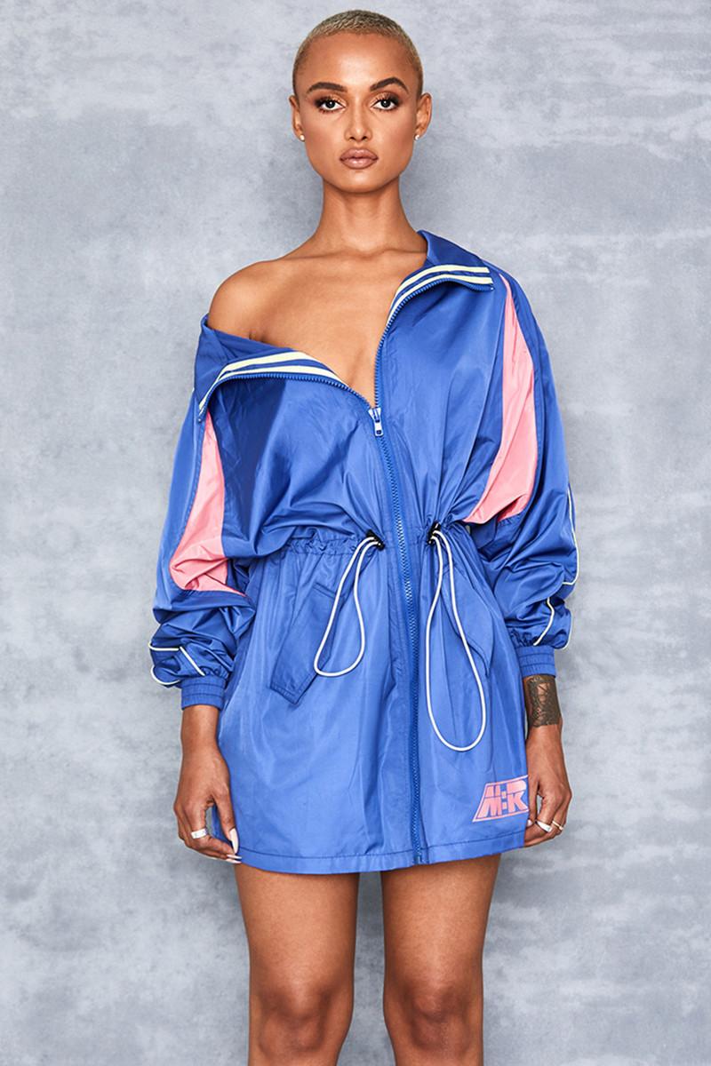And Me Cobalt Blue Blouson Jacket Dress