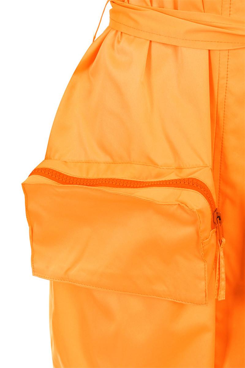 opening orange jacket