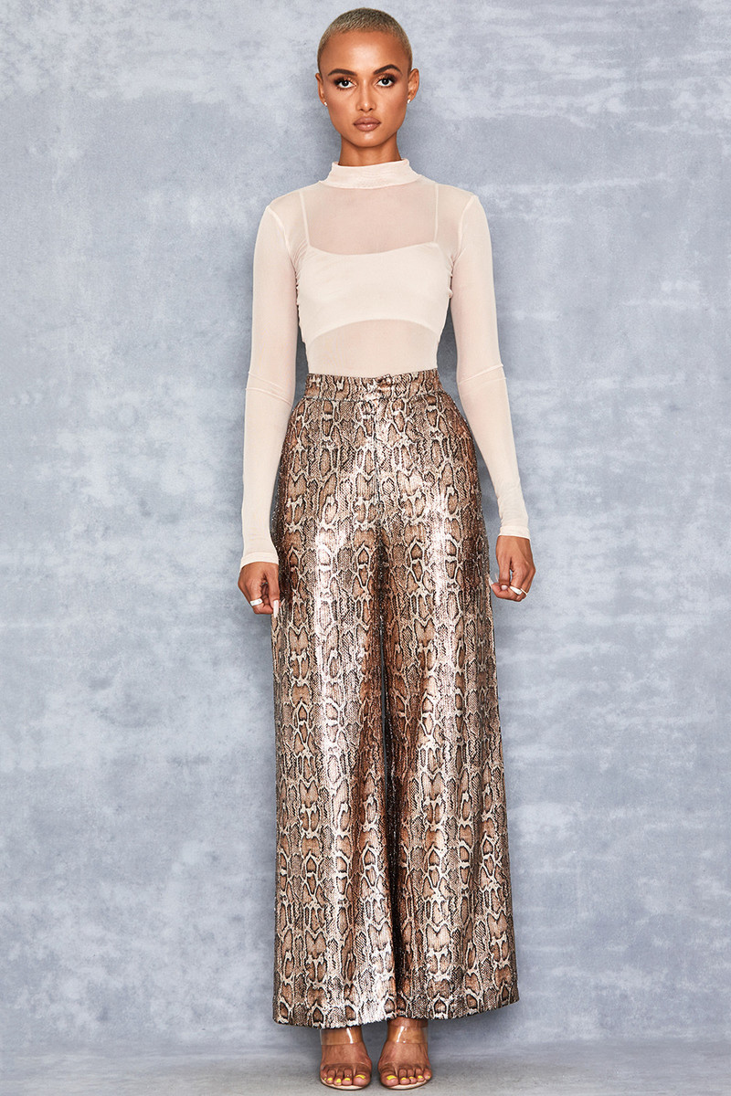 Postpone Gold Snake Skin Wide Leg Trousers