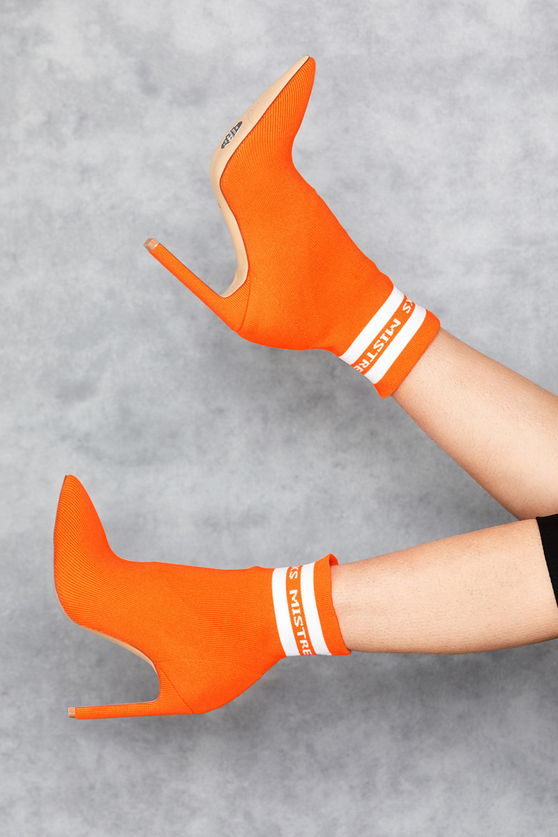 Rain Orange Knit Ankle Boots with White Logo Stripe