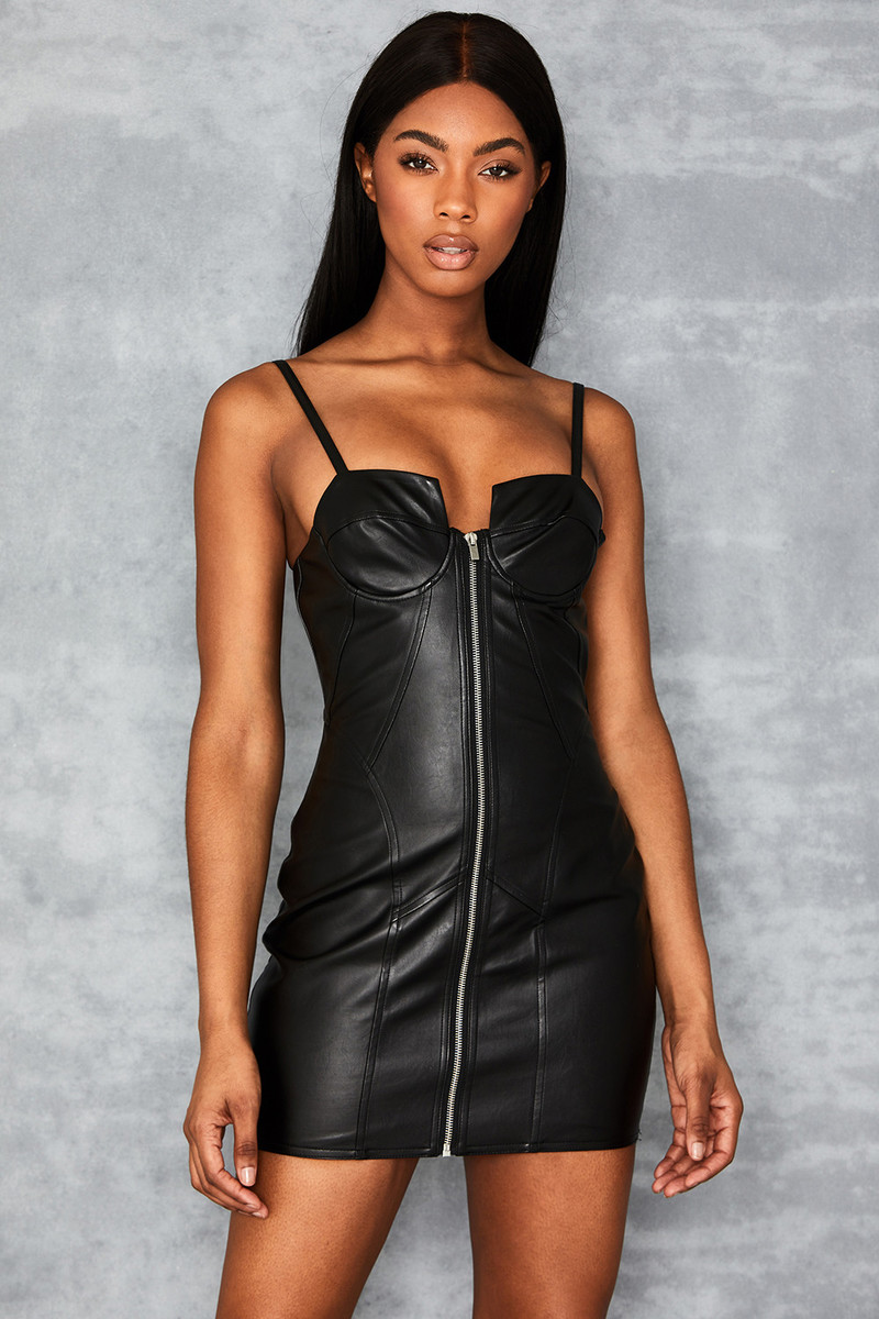 Samba Black Vegan Leather Cupped Bustier Dress
