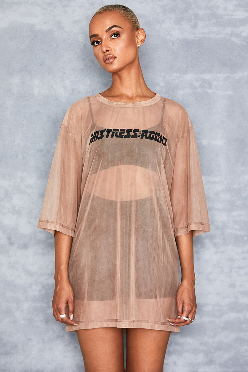 Skippy Camel Oversized Sheer Mesh T Shirt
