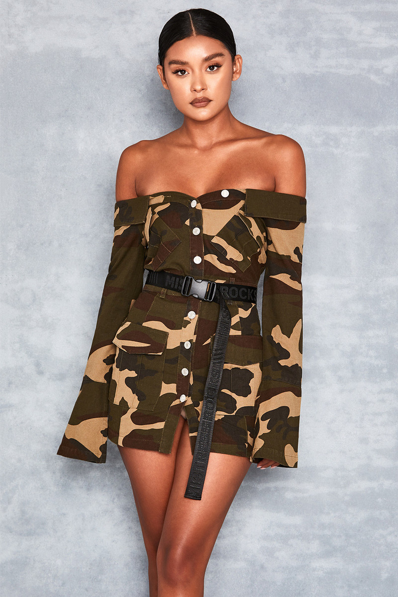 Squad Camo Off Shoulder Canvas Dress