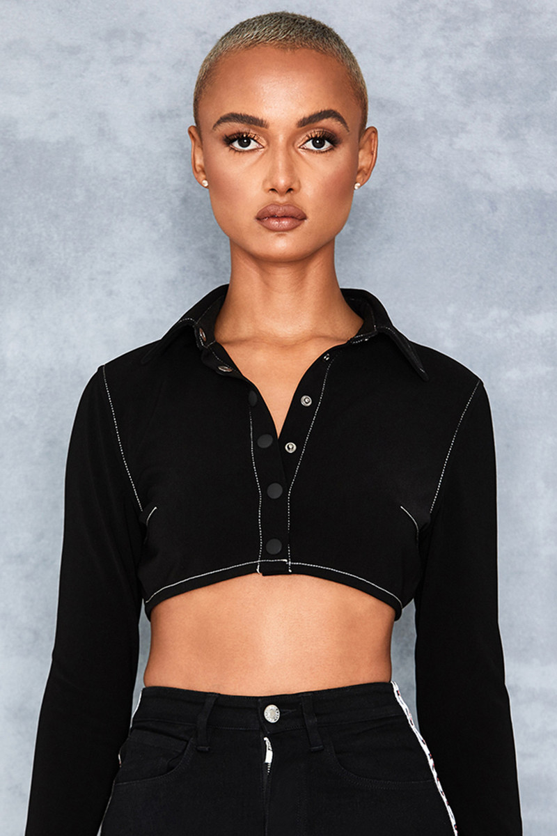 Wonder Black Twill Cropped Shirt