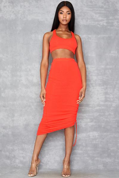 Magnify Neon Orange Ribbed Maxi Skirt