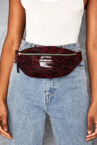 Dime Red Snake Print Bum Bag