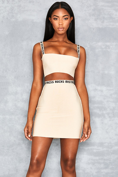 Counter Beige Logo Mini Skirt