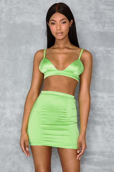 Smitten Neon Lime Stretch Satin Two Piece