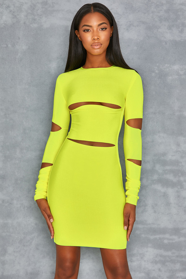 Caring Neon Lime Long Sleeved Bandage Dress