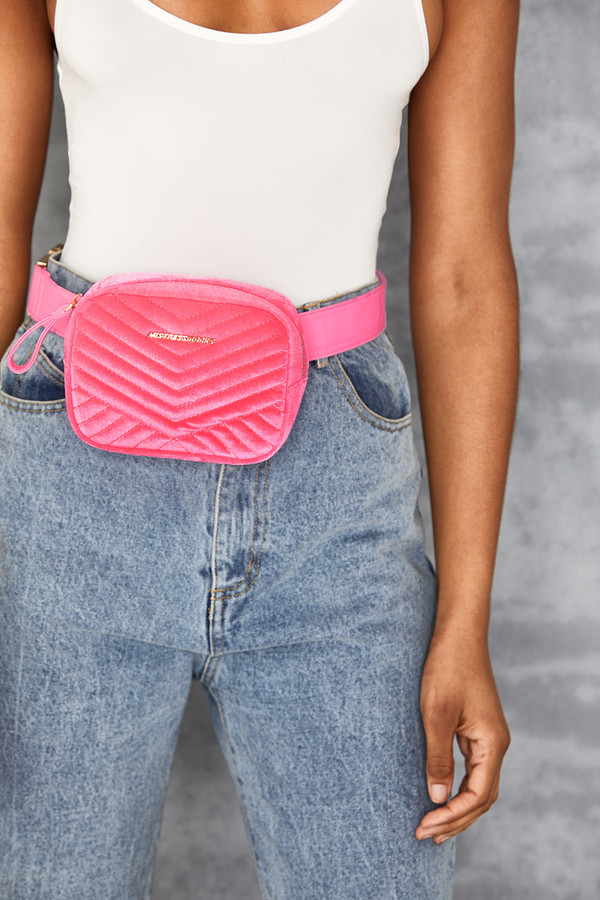 Dollar Pink Velvet Bum Bag