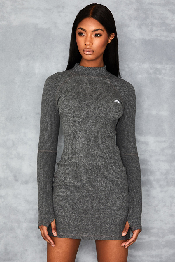 Energy Grey High Necked Ribbed Mini Dress