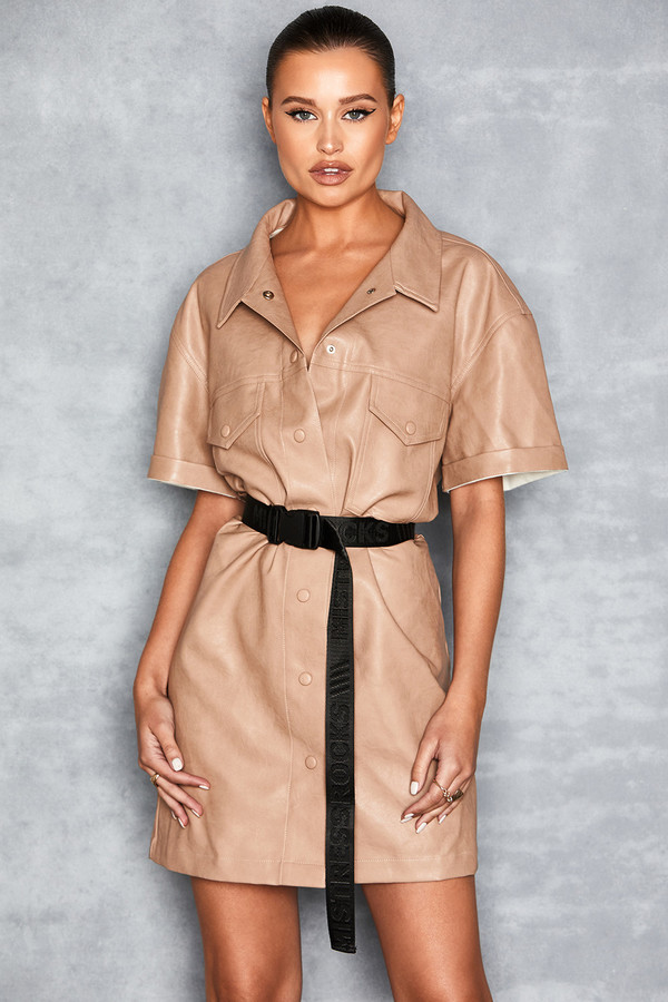 Friendship Camel Vegan Leather Shirt Dress