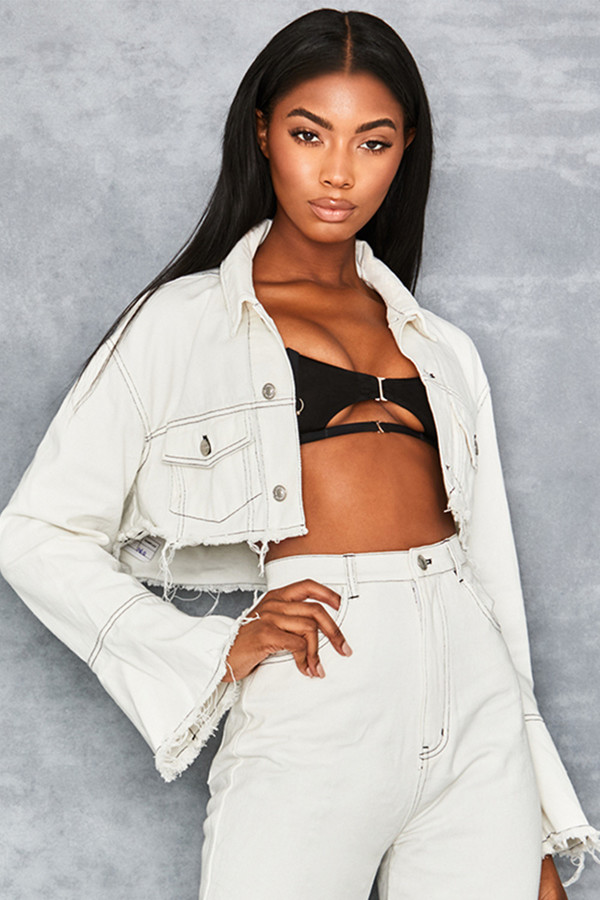 Meet Up White Denim Cropped Jacket