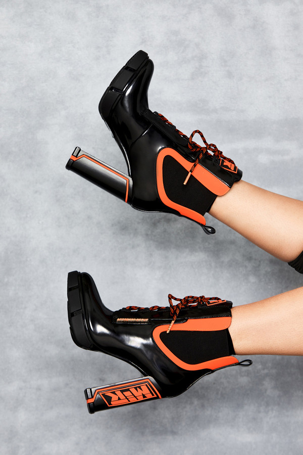 Potent Black Orange Patent Heeled Work Boots