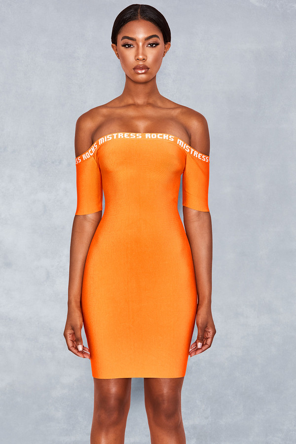 Short Straw Straw Orange Logo Bandage Dress