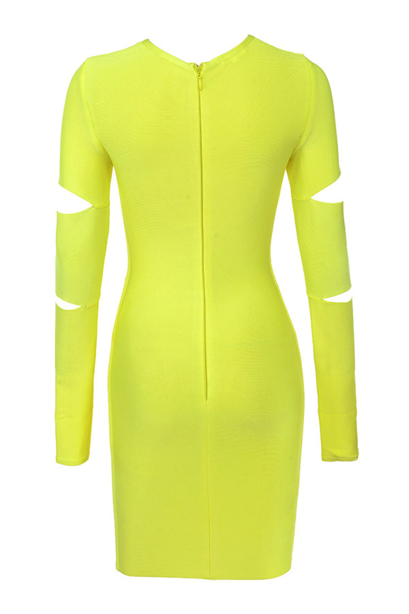 caring dress in neon yellow