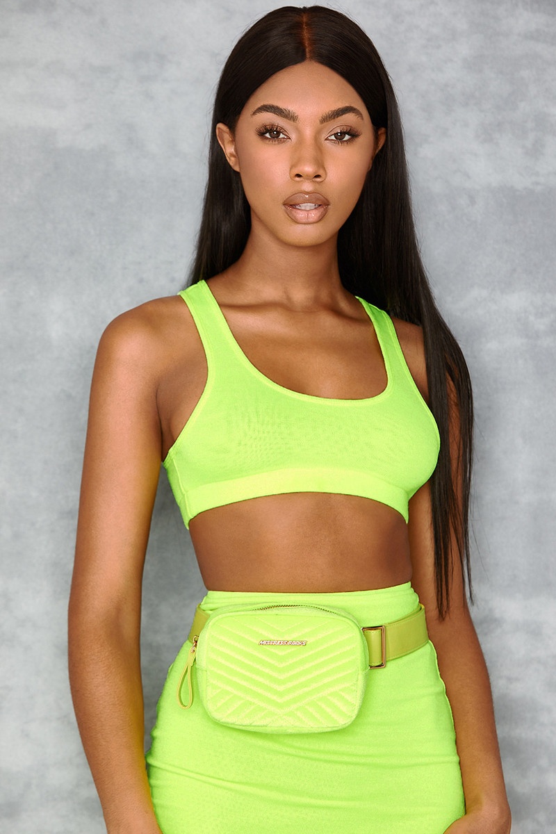Dollar Neon Green Velvet Bum Bag