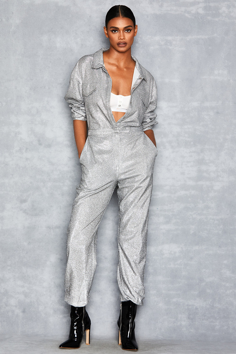 Hey Girl Silver Sparkle Boiler Suit