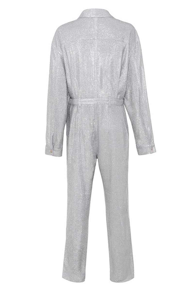 hey girl jumpsuit in silver