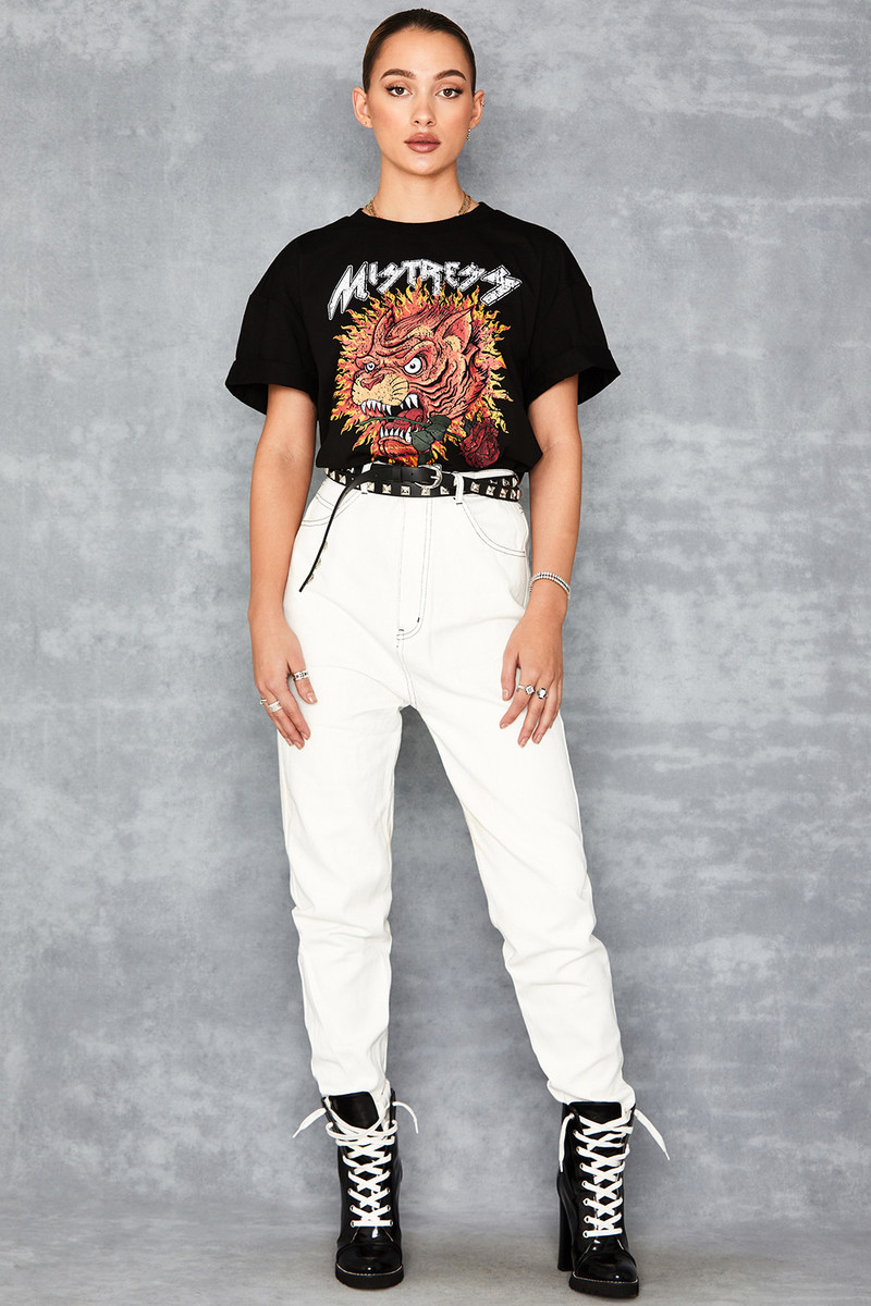 Perception White Oversized Tapered Jeans