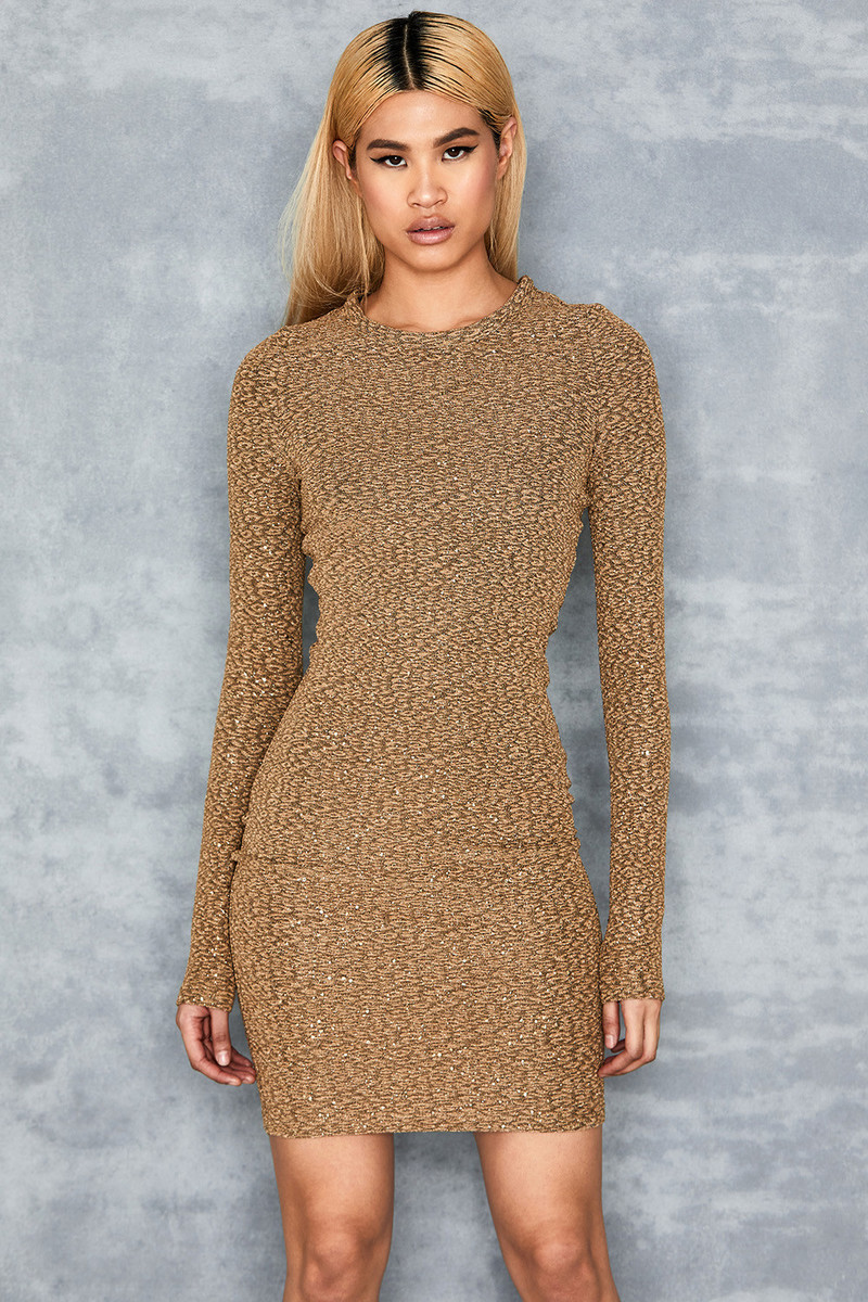 Quest Gold Metallic Sparkle Mini Dress