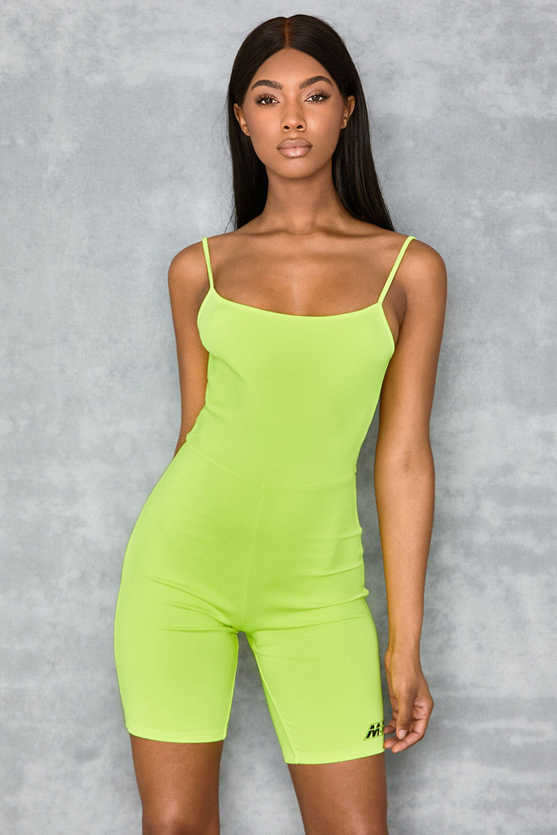 Reason Neon Lime Strappy Lycra Playsuit