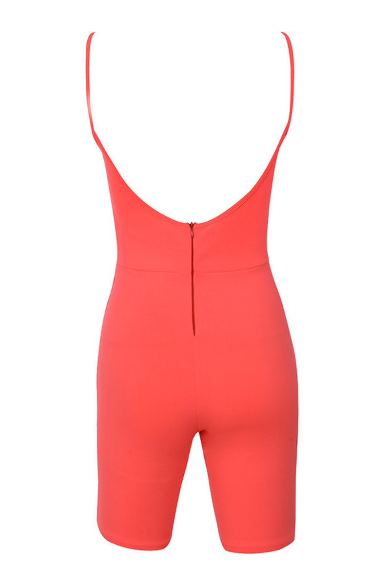 reason playsuit in neon coral