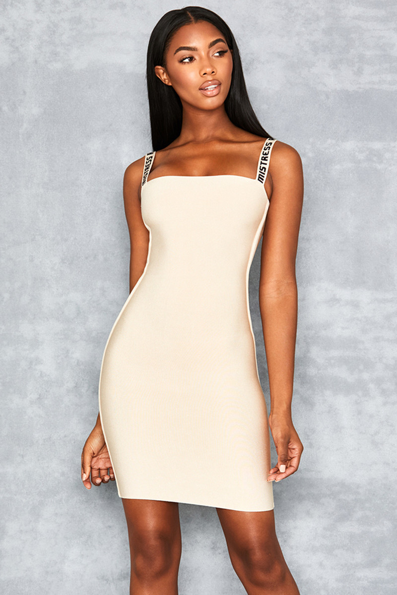 Right Here Beige Bandage Logo Dress