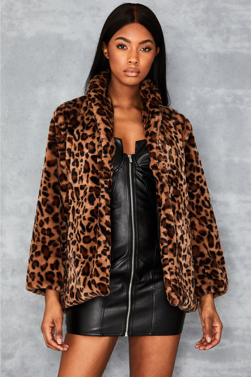 Novice Leopard Print Faux Fur Coat