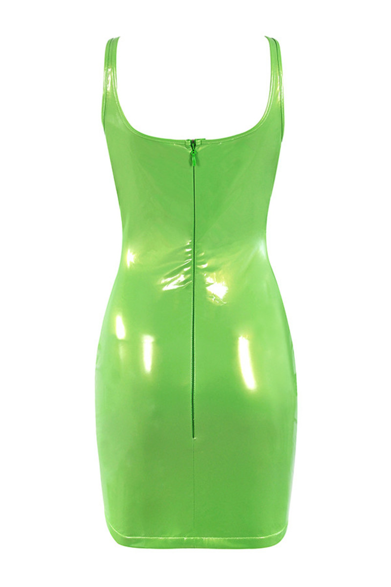 shiver dress in neon green