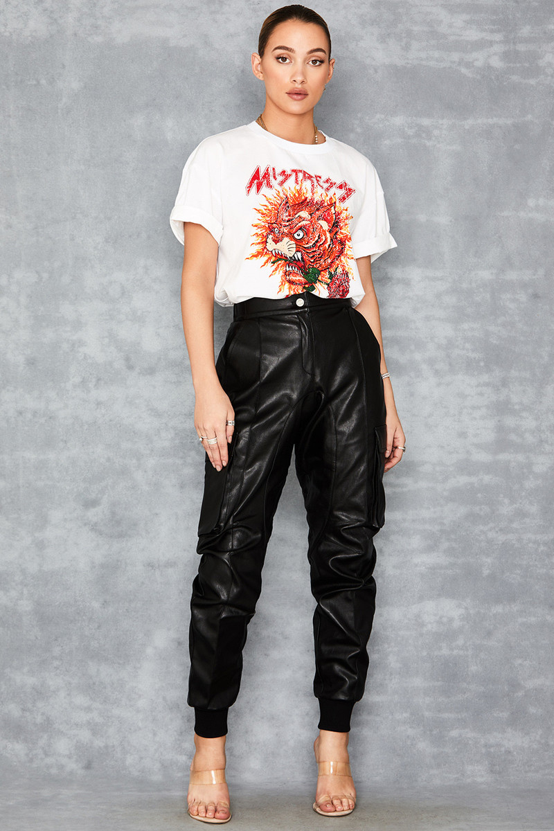 Stronghold Black Vegan Leather Combat Trousers