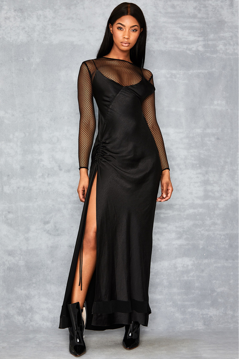 System Black Maxi Slip Dress