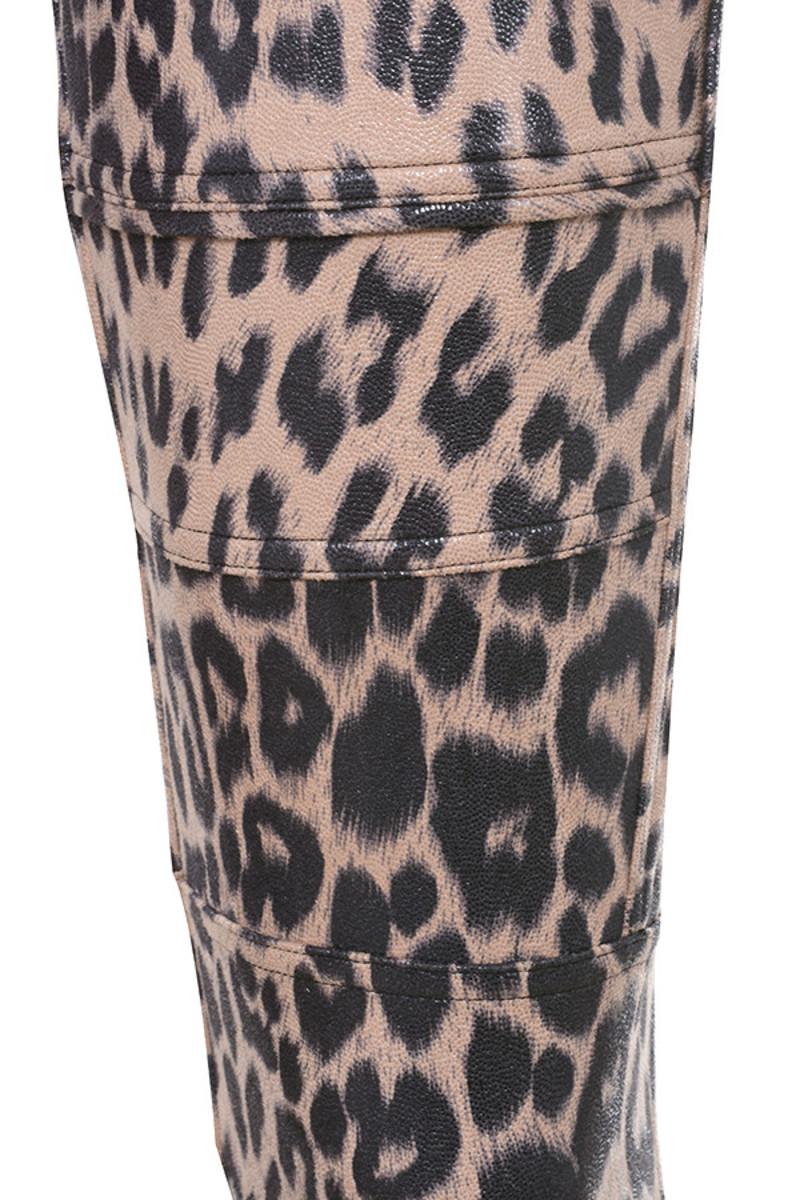 leopard written trousers