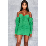 Journey Emerald Off Shoulder Mini Dress