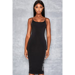 Possession Black Slinky Dress with Logo