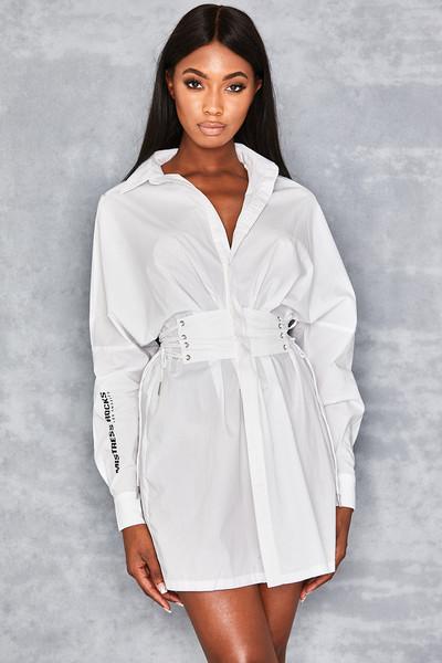 Back At It Cotton Corset Shirt Dress