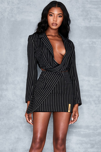 Believer Black Pinstripe Mini Skirt
