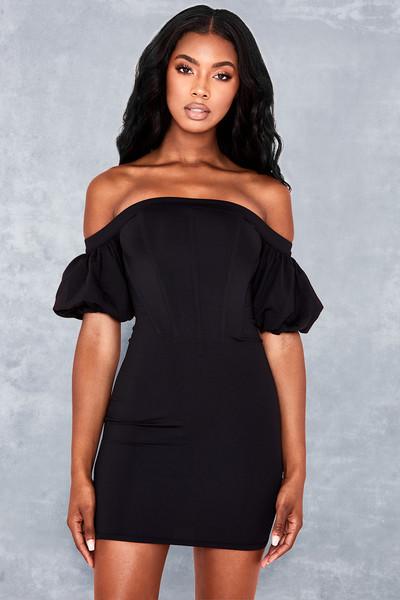 First Date Black Off Shoulder Corset Dress