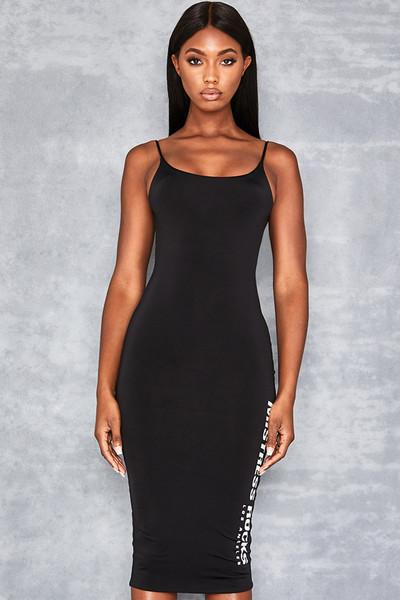 Possession Black Slinky Dress with Logo