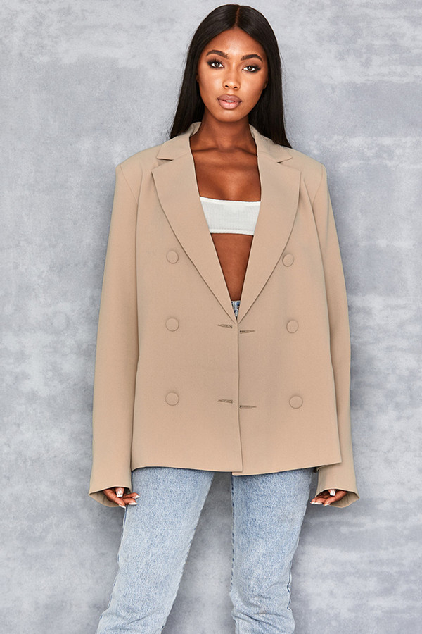 Business As Usual Nude Oversized Blazer