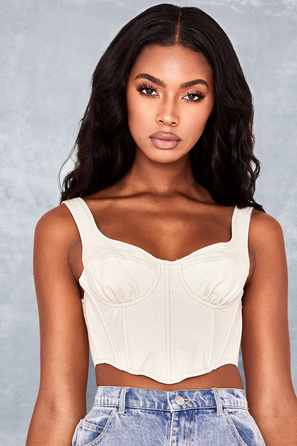 Element Cream Stretch Twill Bustier