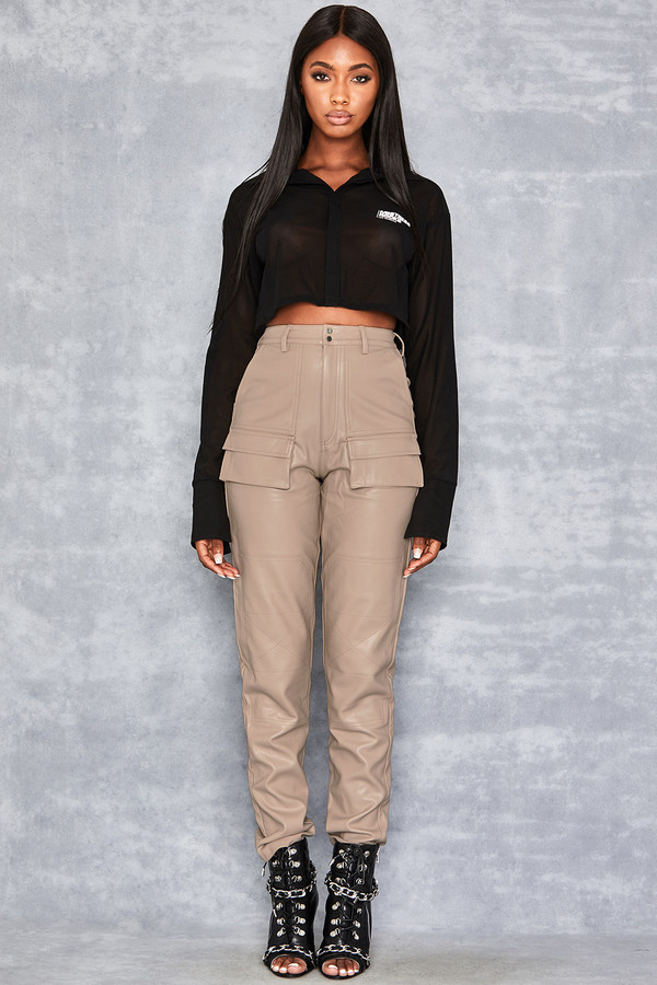 Folly Biscuit Stretch Vegan Leather Trousers